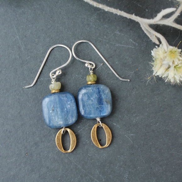 Square Kyanite with Brass Oval Dangle