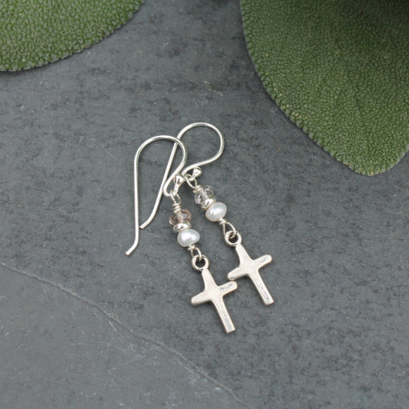 Silver Cross, Pearl and Ametrine