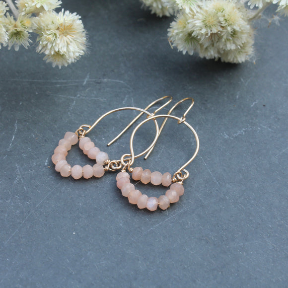 Softly Curved Peach Moonstone