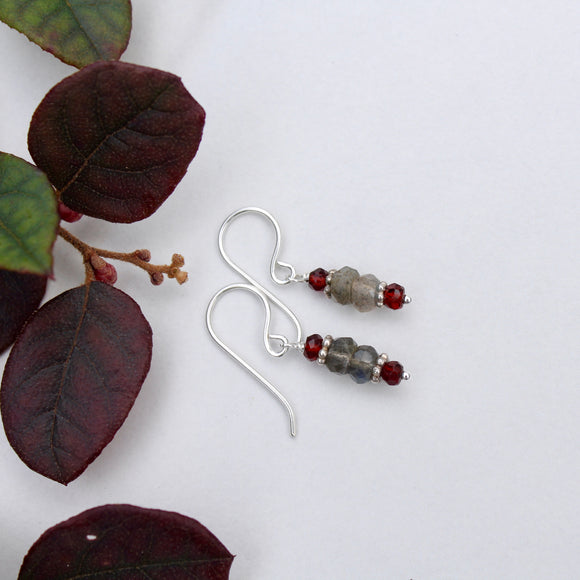 Garnet and Labradorite Mini Stacks with Silver