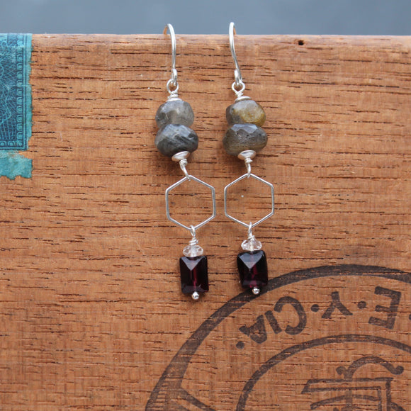 Garnet, Labradorite and Silver Hexagon Dangles