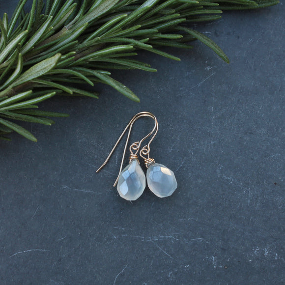 Chalcedony Briolette Dangles in Gold Fill