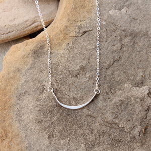Curved Silver Bar Necklace
