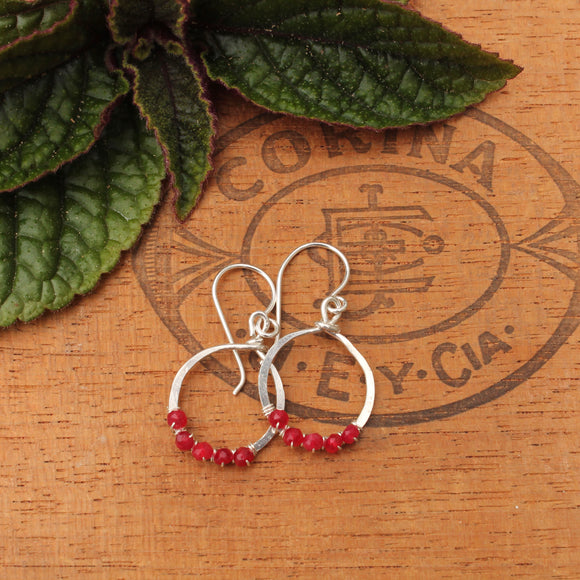 Hammered Silver Loops with Red Rubies