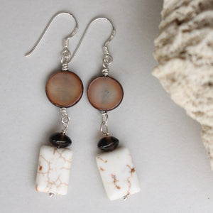 Howlite, Onyx and Brown Button Shell Dangles
