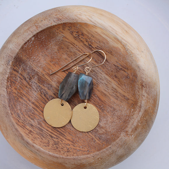 Labradorite Nugget with Round Brushed Gold Fill Dangle