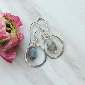Gemstone Dangle Ensconced in Silver