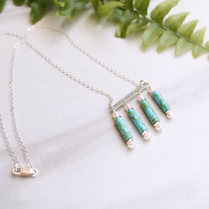 Turquoise and Pearl Chandelier Necklaces