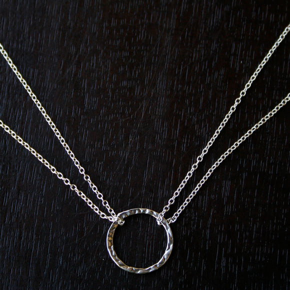 Hammered Silver Ring Necklace