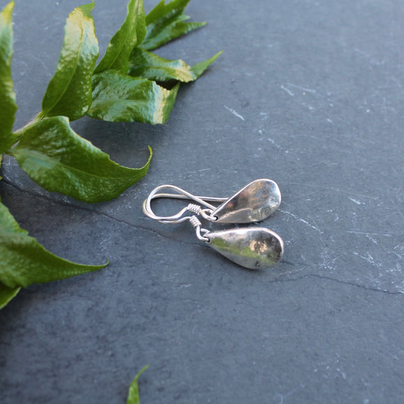 Small Sterling Silver Textured Teardrop