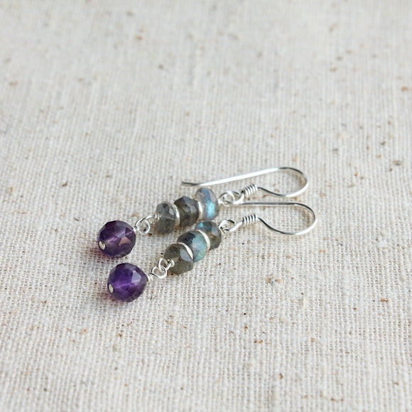 Labradorite Stack with Amethyst Dangle