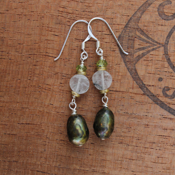 Faceted Olive Green Pearl Dangle with Brass Accents