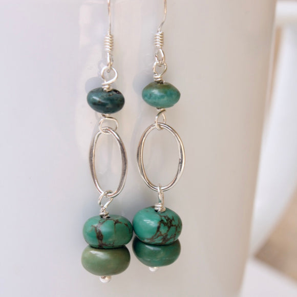 Double turquoise stack dangle