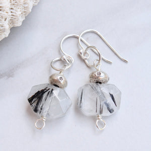 Faceted Rutile Quartz with Hill Tribe Silver Bead