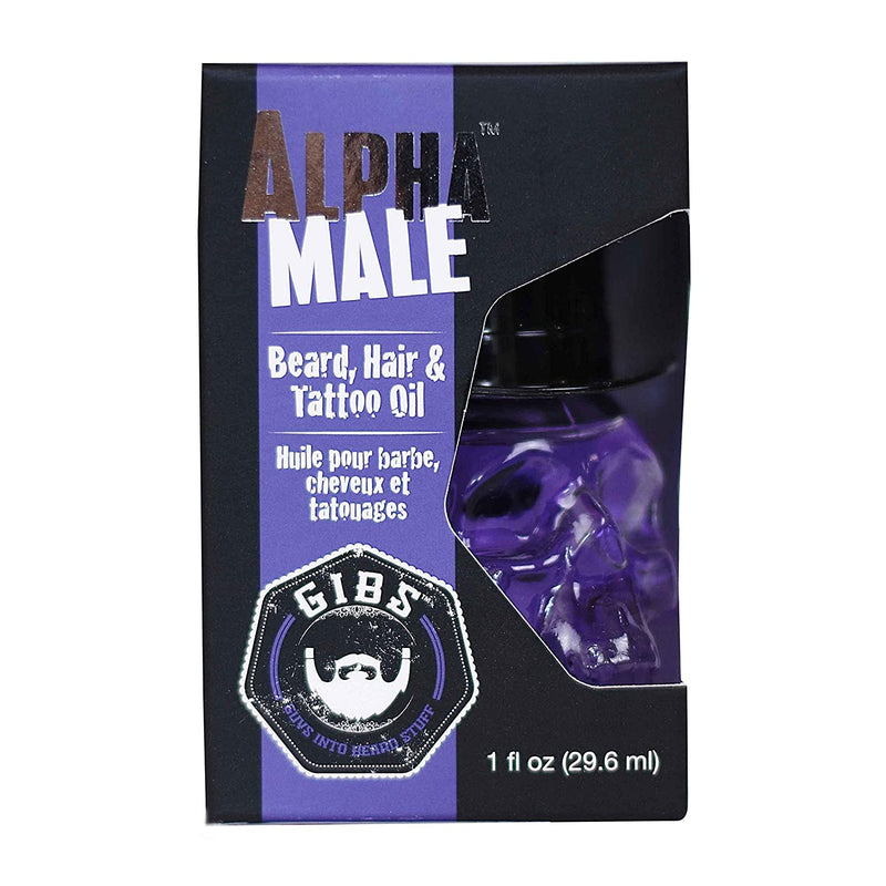 Gibs Alpha Male Beard, Hair & Tattoo Oil in Glass Skull