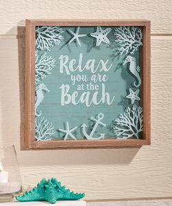 HOME DECOR  Wall Sign Glass & Wood Frame Relax You Are at the Beach