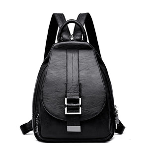High Quality Ladies Crossbody. Soft Real Leather Backpack. Black