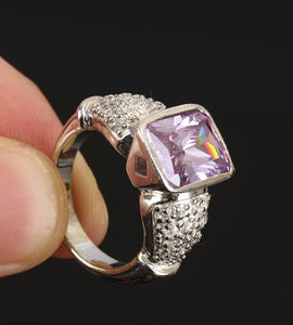 Natural Square Amethyst & White Topaz 925 Sterling Silver Fine Jewellery Ring Size 8