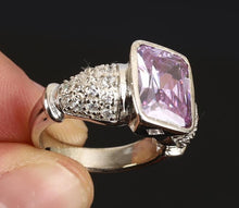 Load image into Gallery viewer, Natural Square Amethyst & White Topaz 925 Sterling Silver Fine Jewellery Ring Size 8