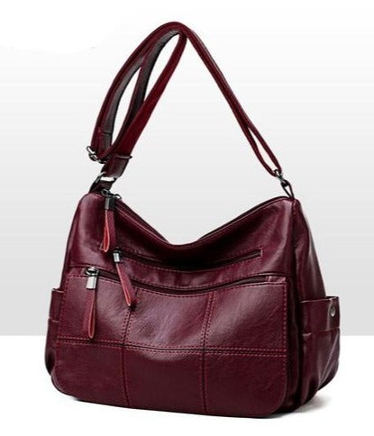 Soft Real Leather Luxury Ladies Handbags Crossbody Bag Shoulder Messenger Burgandy