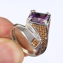 Load image into Gallery viewer, Unique Ring Square Amethyst Gemstone & Citrine Pave 925 Sterling Silver Size 7