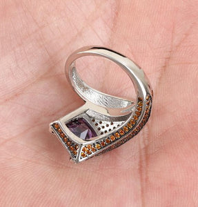 Unique Ring Square Amethyst Gemstone & Citrine Pave 925 Sterling Silver Size 7