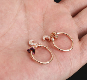Topaz Moon & Ruby Heart Hoops Earrings Rose Gold *Fine Jewelry*