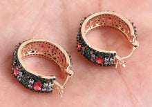 Load image into Gallery viewer, Beutiful  Hoops Earring Emeralds, Ruby & White Topaz. Rose Gold over Sterling Silver