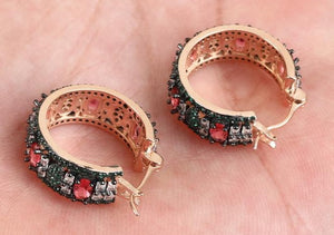 Beutiful  Hoops Earring Emeralds, Ruby & White Topaz. Rose Gold over Sterling Silver