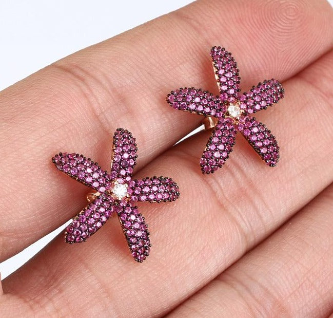 Starfish Earrings Ruby natural stones Rose Gold over.925 Solid Sterling Silver Fine Jewelry