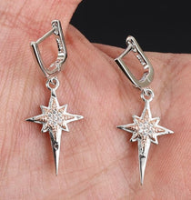 Load image into Gallery viewer, 100% 925 Sterling Silver Gold details Starburst Dangle Earrings