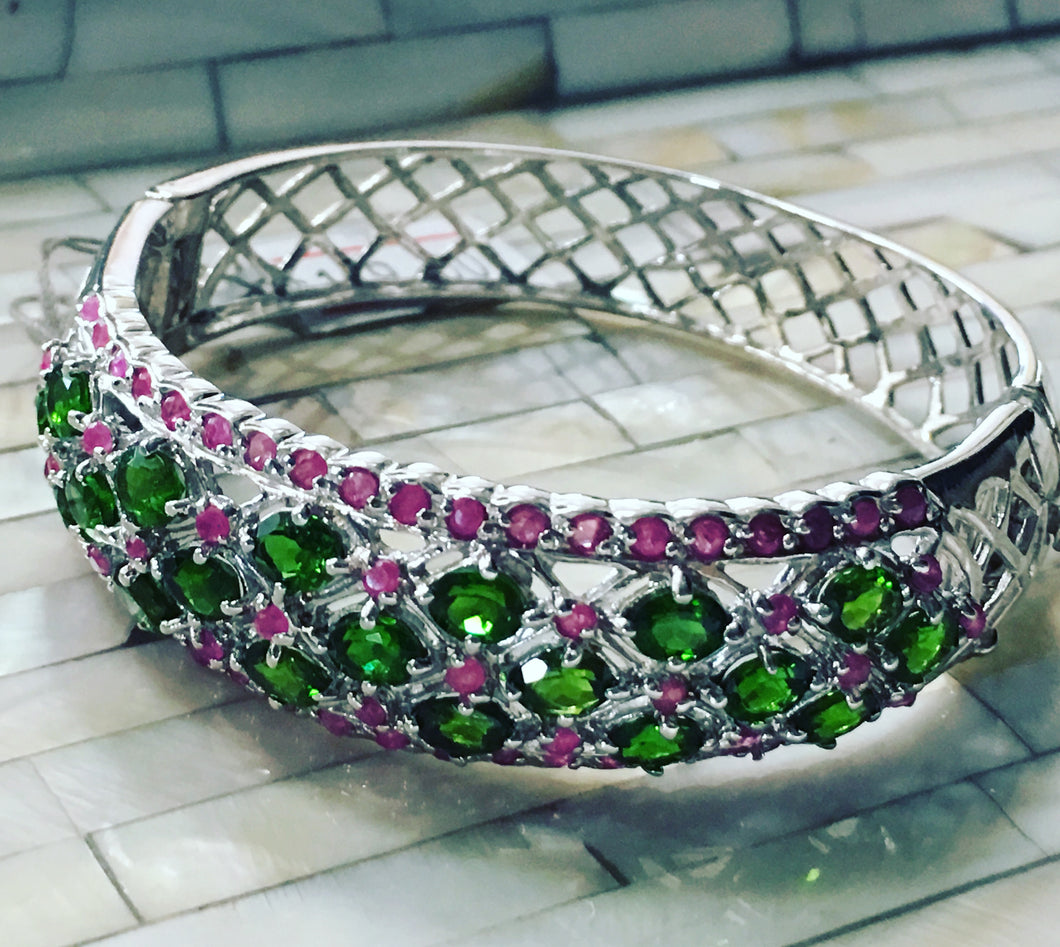 Bangle Bracelet AAA Green Chrome Diopside & Ruby Precious Gemstones 925 Sterling Silver
