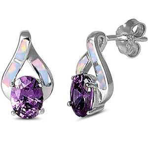 White Fire Opal & Tanzanite Post Gemstone Earrings 925 Sterling Silver *Fine Jewelry*