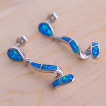 Load image into Gallery viewer, Curved Shape Blue fire opal Dangle Earrings Silver Stamped *Fine Jewelry*