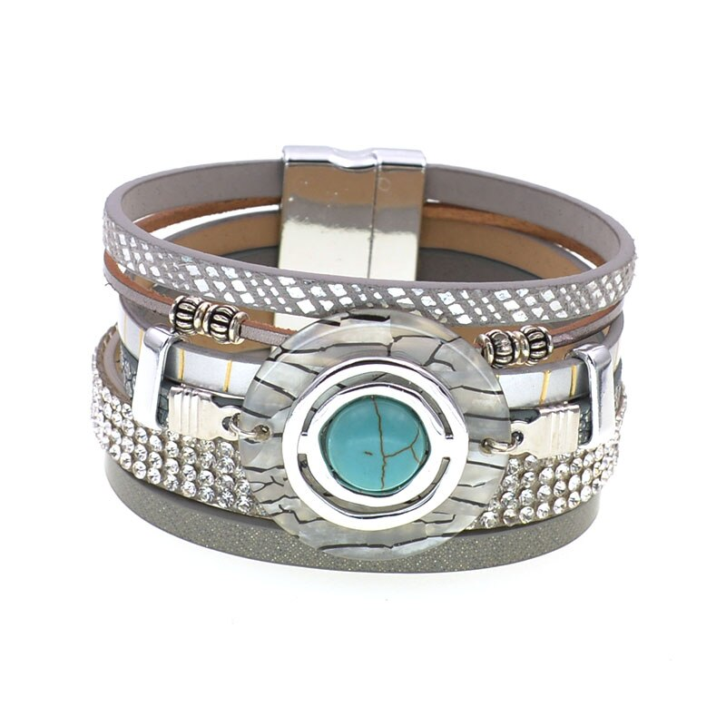 NEW bracelet Fashion Leather BOHO Turquoise Rhinestones Zebra Circle Magnet Clasp