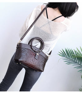 Luxury Leather Handbag Designer Crocodile Women Purse Shoulder Bags Brown