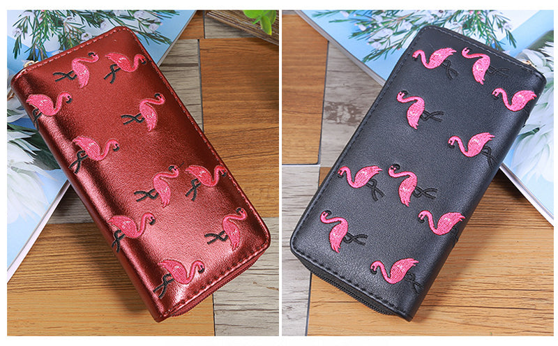 Long Wallet Pink Flamingo Embroidery Black, Silver or Burgundy
