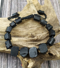 Load image into Gallery viewer, Natural Gemstones Black Tourmaline Stone Beads Cord Knotted Adjustable Bracelet