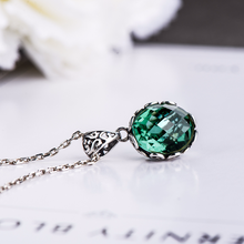 Load image into Gallery viewer, Pendant Emerald Natural Gemstone Antique Retro 925 Sterling Silver