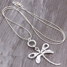Load image into Gallery viewer, Long Chain Silver Necklace Dragonfly Pendant.Free Shipping!