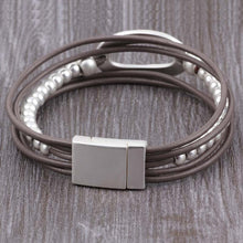 Load image into Gallery viewer, Leather Bracelet bohemian Metal Beads Magnet Clasp