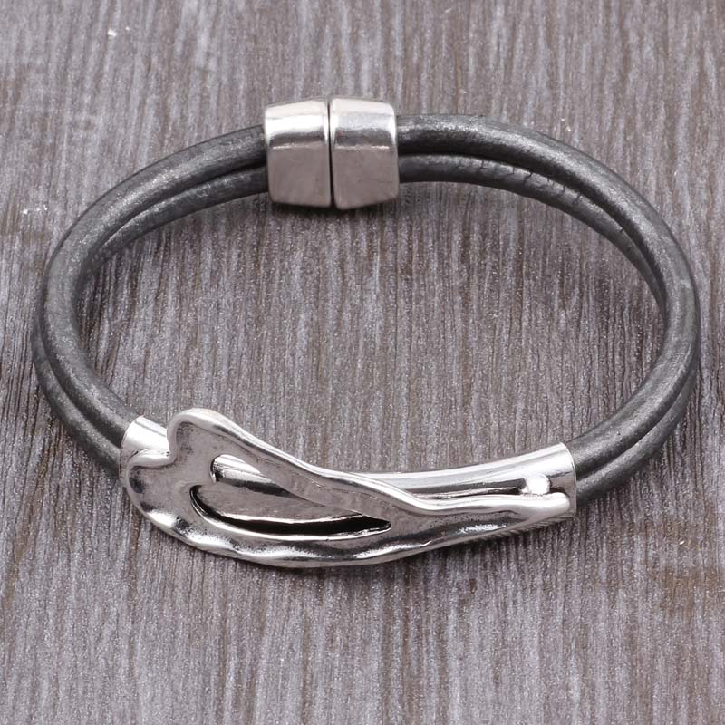 Leather Bracelet bohemian Silver Heart Metal Magnet Clasp
