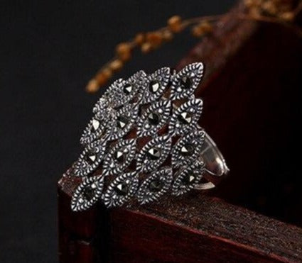 Retro Silver Marcasite Ring Adjustable 925 Sterling Silver