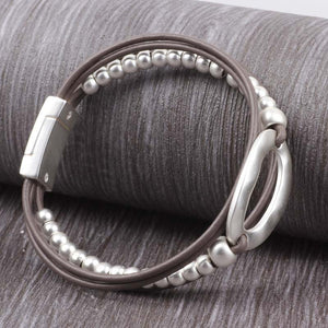 Leather Bracelet bohemian Metal Beads Magnet Clasp