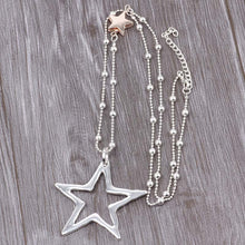 Load image into Gallery viewer, Long Chain Silver Necklace Double Star Pendant Gold and Silver. Free Shipping!