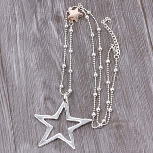 Long Chain Silver Necklace Double Star Pendant Gold and Silver. Free Shipping!