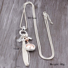Load image into Gallery viewer, Long Snake Chain Silver Necklace Long Tassel Pendant Gold & Silver. Free Shipping!