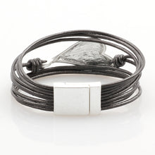 Load image into Gallery viewer, Leather Bracelet bohemian Silver Heart Metal Magnet Clasp