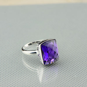 Natural Purple Amethyst Ring 925 Sterling Silver Natural Gemstone Size 8 . Free Shipping !