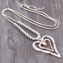 Load image into Gallery viewer, Long Chain Silver Necklace Double Long Heart Pendant Gold and Silver. Free Shipping!